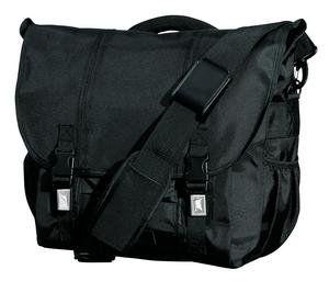 Upscale Denier Nylon Laptop Messenger Bag   Black