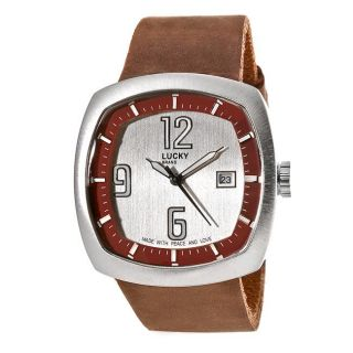 Lucky Brand Mens Casual Brown Leather Band Watch