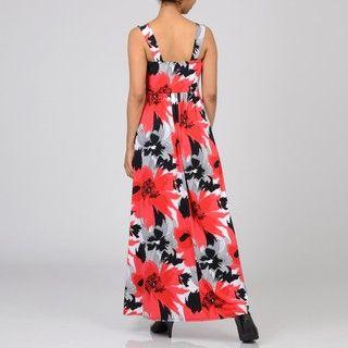 Tiana B Womens Red Poppy Jersey Maxi Dress