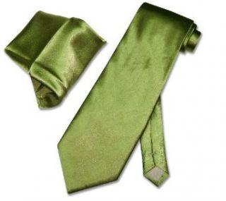 Solid GREEN NeckTie Handkerchief Matching Set Neck Tie