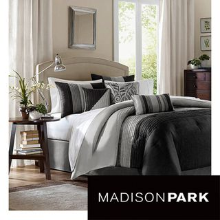 Madison Park Infinity Black/Grey 6 piece Duvet Cover Set