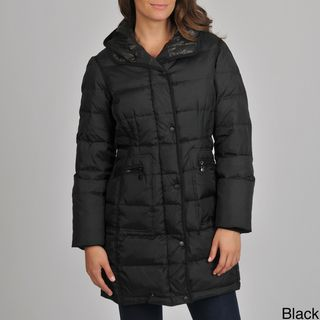 London Fog Womens Quilted Down Coat with Removable Hood