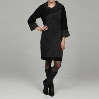 Madison Leigh Womens Black/ Grey Full Fashion Sweater Dress