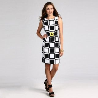Connected Apparel Womens Black/ Yellow Geometric Dress
