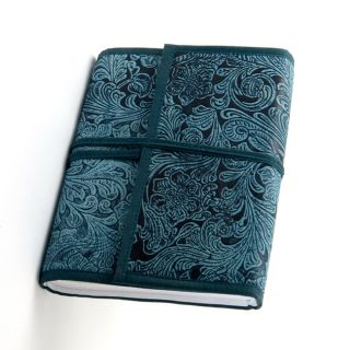 100 page Indigo blue Engraved Cruelty free Leather Journal (India