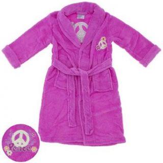 Sweet n Sassy Pink Peace Sign Plush Bath Robe for Girls