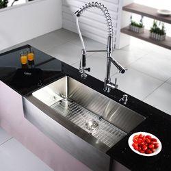 Kraus 36 inch Farmhouse Apron Single bowl Stainless Steel Kitchen Sink