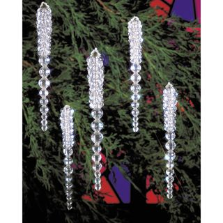 Holiday Beaded Ornament Kit Sparkling Icicles 3 3/4 Makes 30