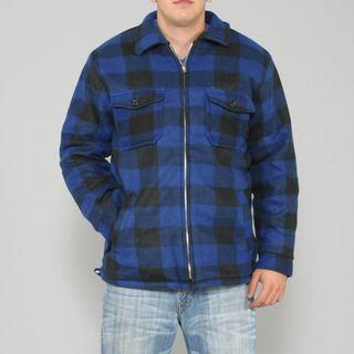Maxxsel Mens Blue/ Black Buffalo Plaid Flannel Jacket