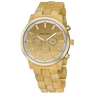 Vernier Womens Boyfriend Soft touch Resin Bone Faux Chrono Watch