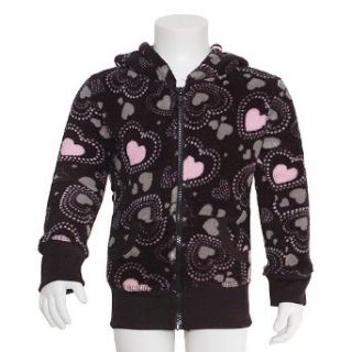 Little Girls Size 4 Black Pink Heart Fleece Hooded Zipper