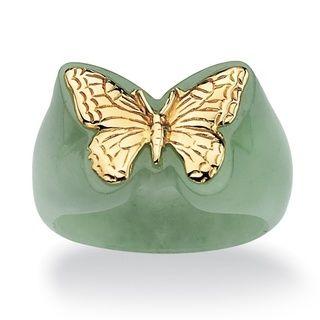 Angelina DAndrea 14k Gold Green Jade Butterfly Ring
