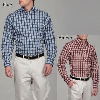 Thomas Dean Mens Plaid Woven Shirt