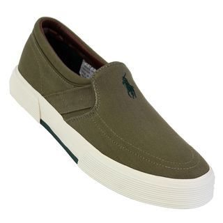 Polo Ralph Lauren Mens Faxon Olive Canvas Sneakers