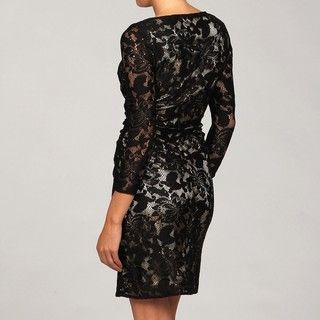 Tahari Womens Black Lace Sheath Long sleeve Dress