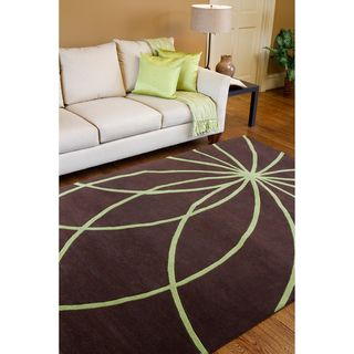 Hand tufted Contemporary Brown/Green Mayflower Wool Abstract Rug (5 x
