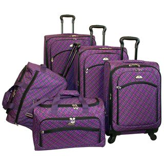 American Flyer Plaid Expandable Purple 5 piece Spinner Luggage Set