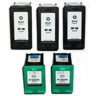 HP 96/97 Black/Tri Color Ink Cartridges (Remanufactured) (Pack of 5