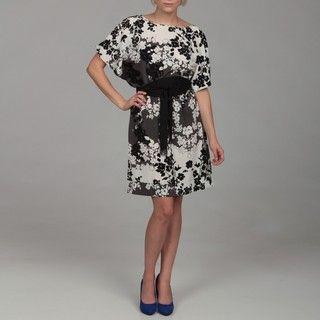 Jonathan Martin Womens Black Floral Belted Dress