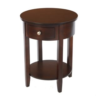 Bianco Collection Espresso Round Drawer Side Table