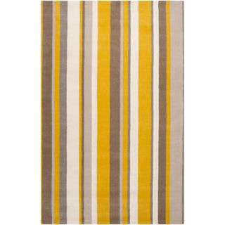 Hand crafted Casual Yellow/Grey Stripe Granbury Wool Rug