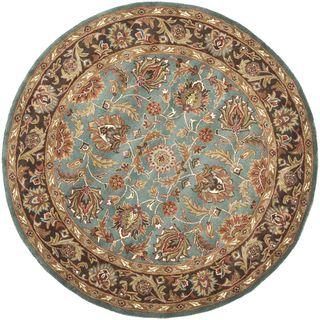 Handmade Heritage Blue/ Brown Wool Rug (36 Round)