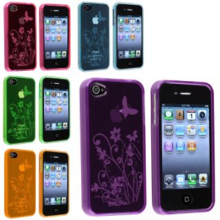 Hot Pink/ Blue/ Purple/ Orange/ Green TPU Cases for Apple iPhone 4/ 4S