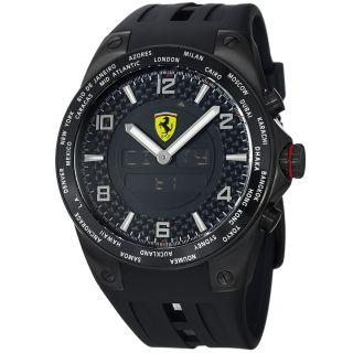 Ferrari Mens World Time Black Analog Digital Dial Black Strap Watch