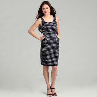 Tahari Womens Navy/ White Polka Dot Dress