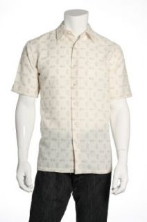 Tasso Elba Beige Camp Shirt , Size Small Clothing