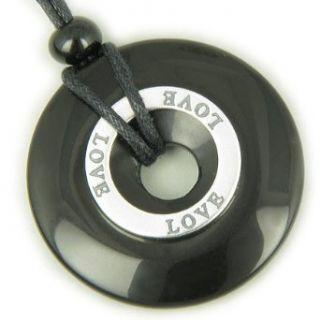 Boyfriend Girlfriend Love Black Onyx Pendant Necklace