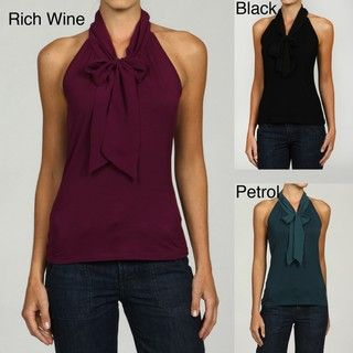 Cable & Gauge Womens Chiffon Keyhole Bow Embellished Top