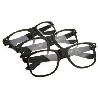 Wayfarer Style Clear Lens Glasses w/ Soft Touch Rubber Coating Shoes