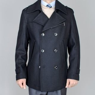 Mantoni Mens Short Black Wool Double Breasted Peacoat