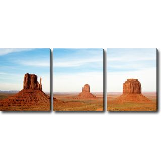 The Magnificent Monument Valley 3 piece Gallery wrapped Canvas Art