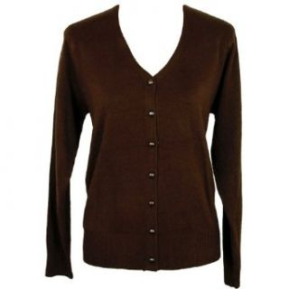 Brown V neck Long Sleeve Knit Cardigan Sweater Size X