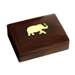 Playing Card Deck Case Holder Wood Box India Decor Sports