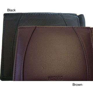 Black Genuine leather Nine credit card slot Money Clip Wallet
