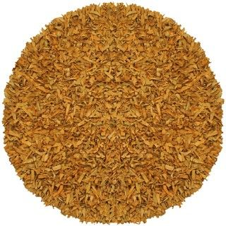 Hand tied Pelle Gold Leather Shag Rug (4 Round)