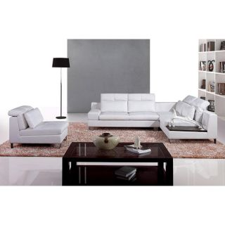 Italia Designs Ivory Leather Sectional Sofa