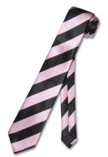 Skinny Narrow Neck Tie Pink Black Diagonal Stripes NeckTie