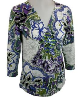 Lynn Ritchie, Geometric Floral Printed, 3/4 Sleeve, V Neck