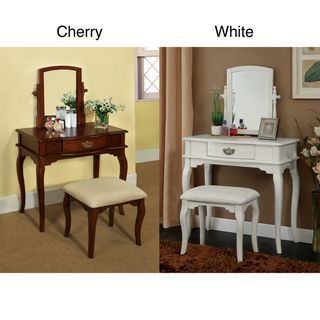 Lorena Solid Wood Vanity Table and Stool Set