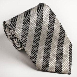 Platinum Ties Mens Striped Black & White Tie