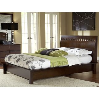 Square Cutout Chocolate Brown Modern Platform Bed