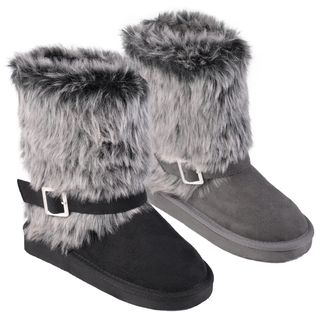 Journee Collection Kids Huffy Buckle Accent Faux Fur Boots