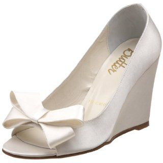 by Butter Womens Clara B Peep Toe Wedge,white satin,5 M US Shoes