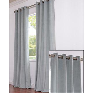 Signature Grommet Grey Blue Velvet 108 Inch Curtain Panel