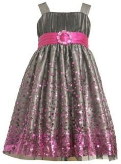 Bonnie Jean Girls 7 16 Sequin Mesh Band Dress, Fuchsia, 10