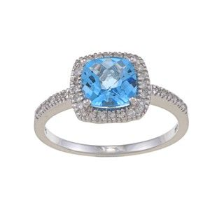 14k White Gold Blue Topaz and 1/5ct TDW Diamond Ring (G H, SI1 SI2